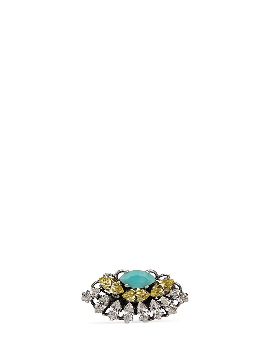 Swarovski crystal fan ring by Anton Heunis