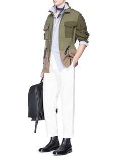3.1 Phillip LimDrawstring waist patchwork canvas field jacket