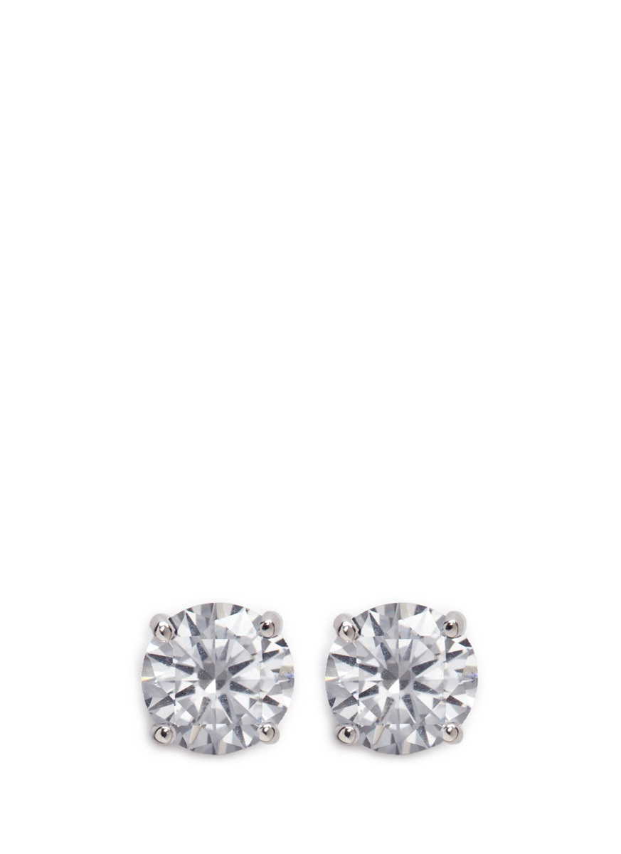 Round cut cubic zirconia large stud earrings by CZ by Kenneth Jay Lane