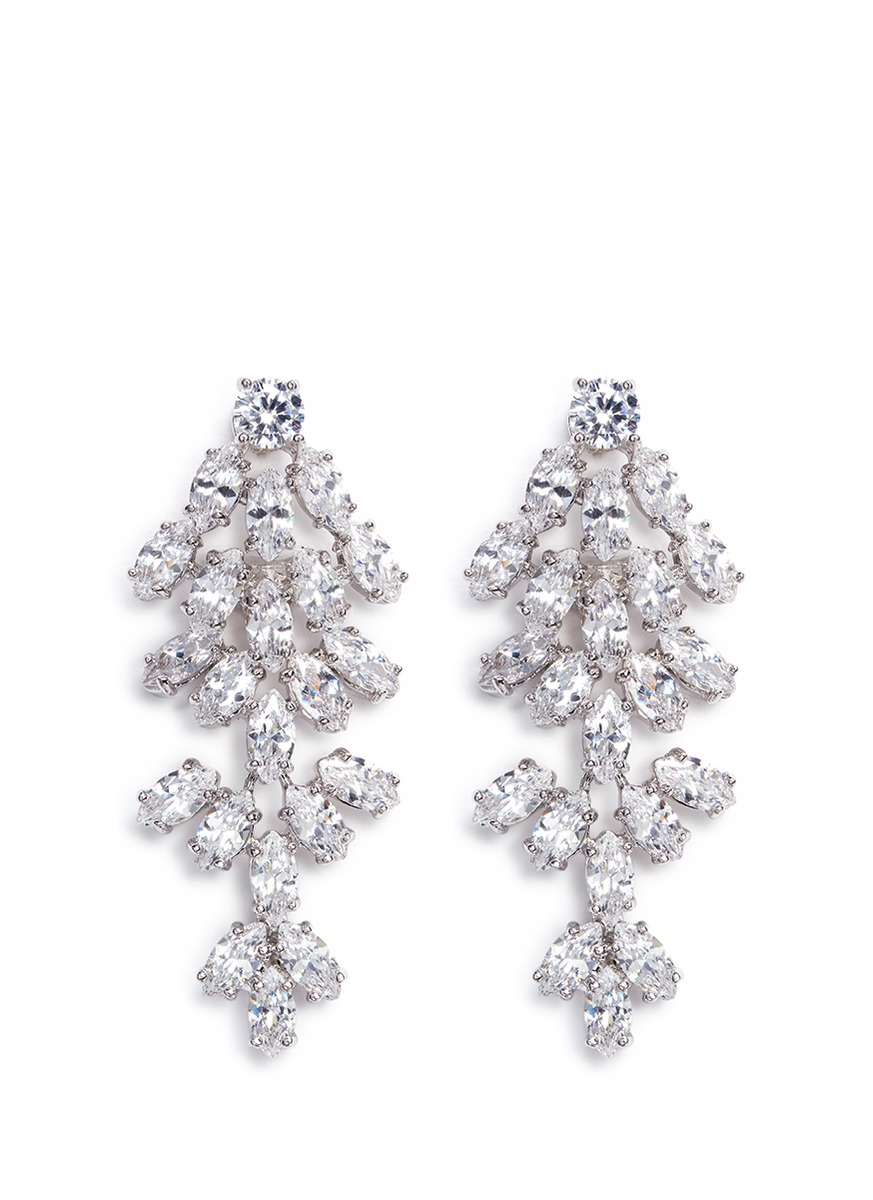 Leaf cubic zirconia clip earrings by CZ by Kenneth Jay Lane