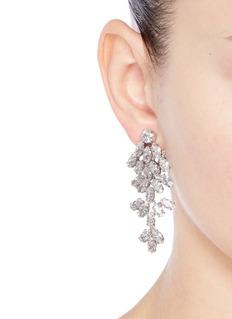 CZ by Kenneth Jay LaneLeaf cubic zirconia clip earrings