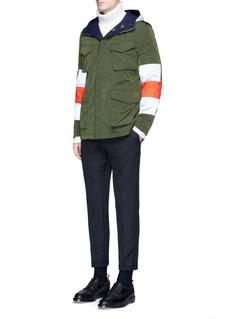 Wooster + LardiniReversible reflective stripe sahara field jacket