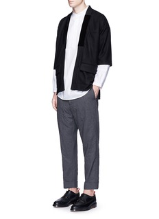 Wooster + Lardini Rolled cuff belted wool pants