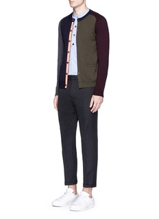 Wooster + Lardini Colourblock grosgrain trim wool cardigan