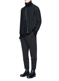 The Viridi-anneAsymmetric zip wool-linen jacket