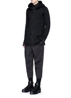 The Viridi-anneThumbhole cuff cotton zip hoodie