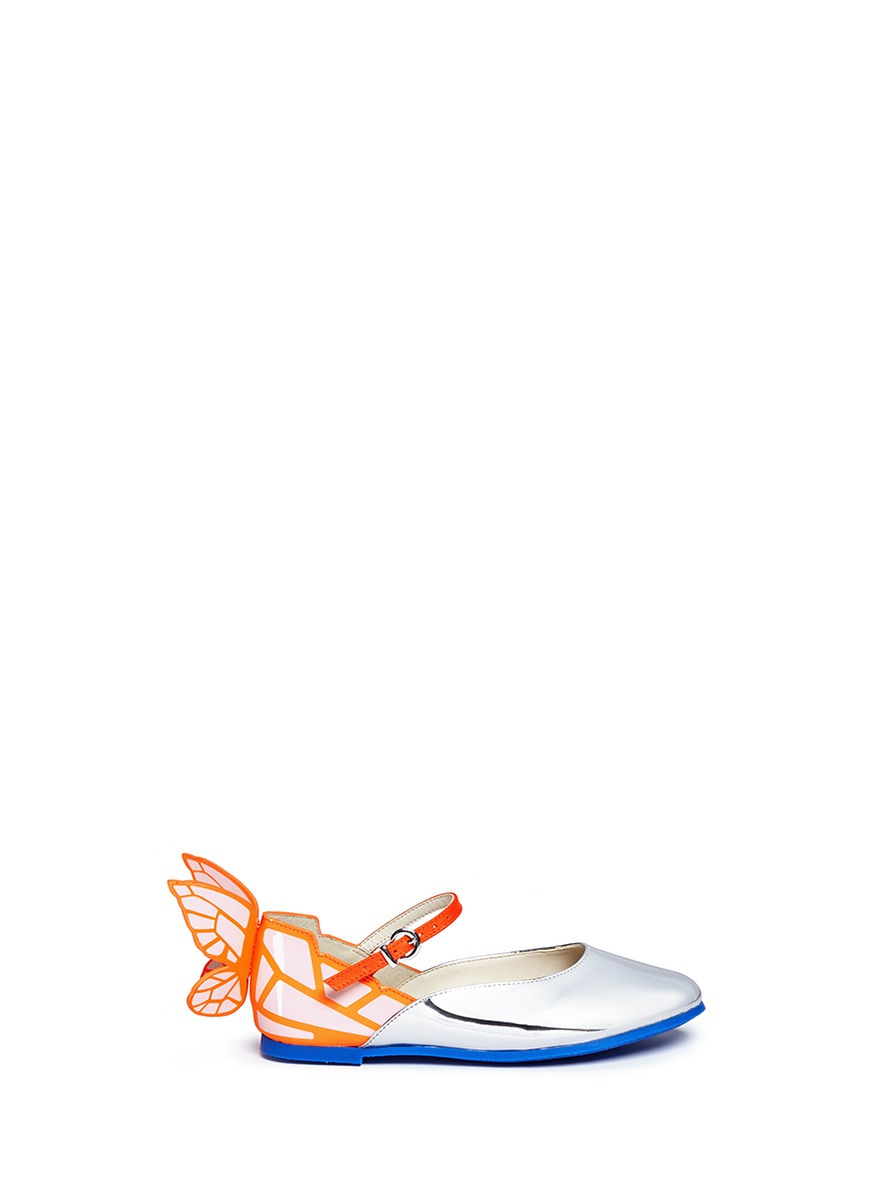 Chiara Mini butterfly appliqué toddler Mary Jane flats by Sophia Webster