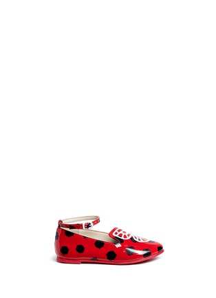 Main View - Click To Enlarge - Sophia Webster - 'Bibi Butterfly' polka dot print patent leather toddler ballerina flats