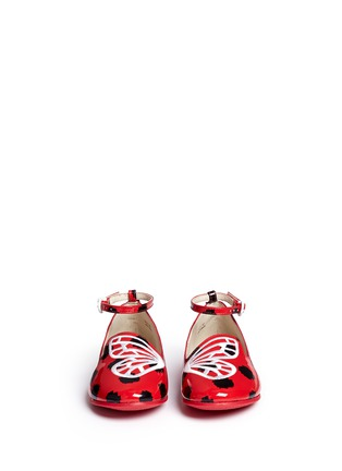 Figure View - Click To Enlarge - Sophia Webster - 'Bibi Butterfly' polka dot print patent leather toddler ballerina flats