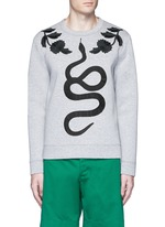 Floral and snake embroidery sweatshirt