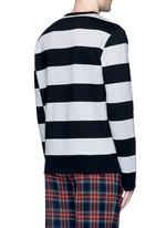 Bird embroidery rugby stripe sweatshirt