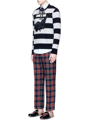 Figure View - Click To Enlarge - Gucci - Bird embroidery rugby stripe sweatshirt