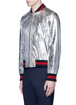 Front View - Click To Enlarge - Gucci - Foiled leather bomber jacket