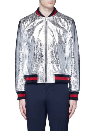 Main View - Click To Enlarge - Gucci - Foiled leather bomber jacket