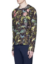 Floral embroidery tropical print sweatshirt