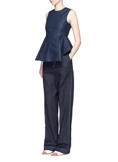 THEORY 'Kalsing D' denim peplum sleeveless top