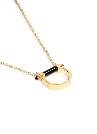 Detail View - Click To Enlarge - W.Britt - Onyx bar octagon pendant necklace