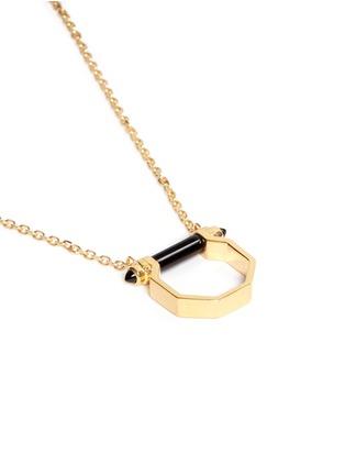 W.Britt-Onyx bar octagon pendant necklace
