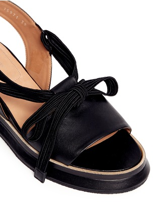 Detail View - Click To Enlarge - Dries Van Noten - Lace-up leather slingback wedge platform sandals