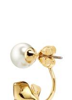Faux pearl stud cubic zirconia flower earrings