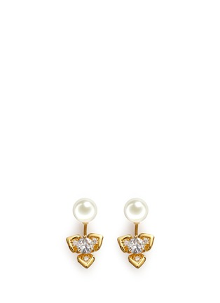 Main View - Click To Enlarge - CZ by Kenneth Jay Lane - Faux pearl stud cubic zirconia flower earrings