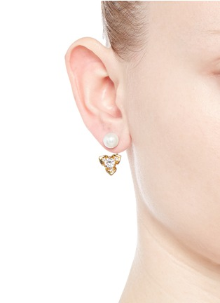 Figure View - Click To Enlarge - CZ by Kenneth Jay Lane - Faux pearl stud cubic zirconia flower earrings