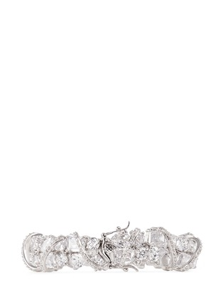 Figure View - Click To Enlarge - CZ by Kenneth Jay Lane - Pavé raised arch mix cubic zirconia bracelet