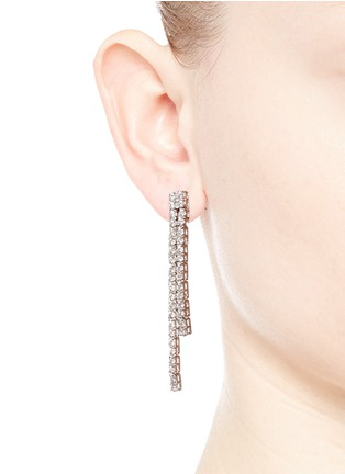 Figure View - Click To Enlarge - CZ by Kenneth Jay Lane - Cubic zirconia pavé bar fringe earrings