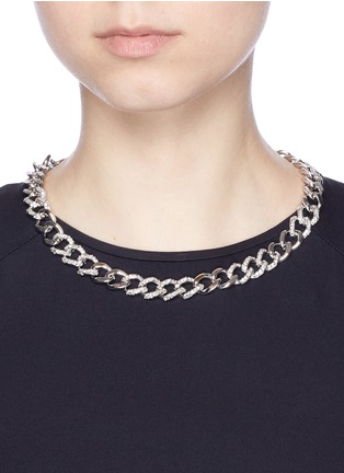 CZ by Kenneth Jay Lane - Cubic zirconia pavé curb chain necklace