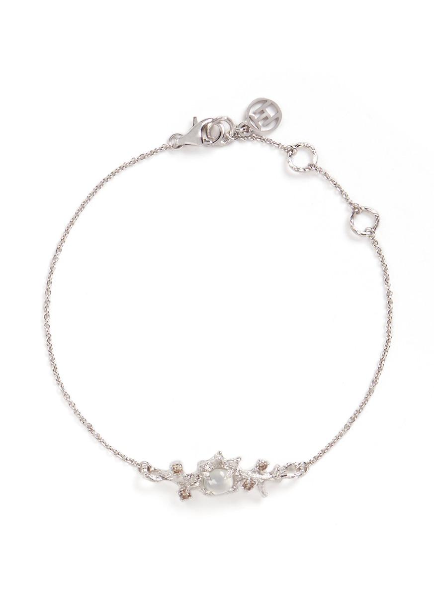 Dewdrop icy jade fancy diamond 18k white gold bracelet by Heting