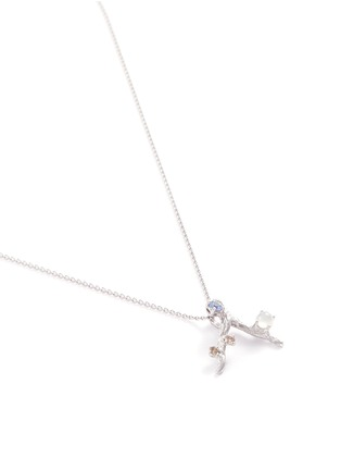 Figure View - Click To Enlarge - Heting - 'Dewdrop' diamond jade sapphire rhodium 18k white gold pendant necklace