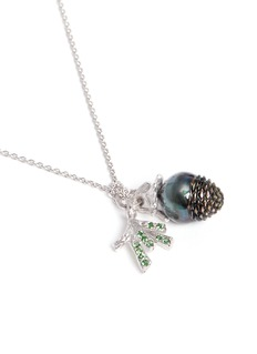 Heting 'Pinecone' tsavorite pearl pendant 18k white gold necklace