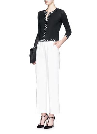 Figure View - Click To Enlarge - DIANE VON FURSTENBERG - 'Ibiza' polka dot trim Merino wool-silk cardigan