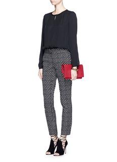 DIANE VON FURSTENBERG'Meadow' pleat front silk blouse