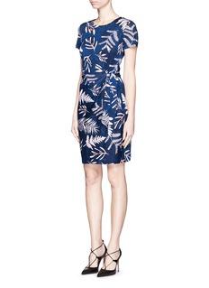 DIANE VON FURSTENBERG'Zoe' leaf print waist tie silk dress