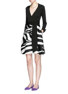 DIANE VON FURSTENBERG'Amelianna' zebra print silk Mikado combo wrap dress