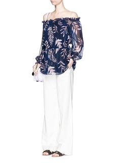 DIANE VON FURSTENBERG'Camila' leaf print chiffon off-shoulder blouse