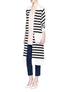 DIANE VON FURSTENBERG'Carlisle' stripe silk blend open front cardigan