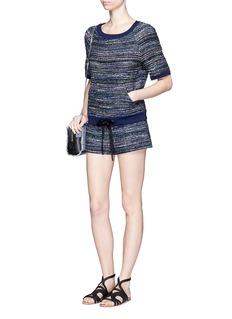 DIANE VON FURSTENBERG'Adela' stripe tweed sweatshirt