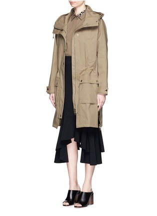 Figure View - Click To Enlarge - Givenchy - Side zip cotton-blend drawstring parka
