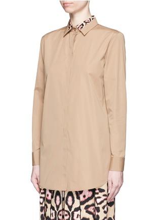 正面 -点击放大 - GIVENCHY - 豹纹拼接纯棉府绸衬衫