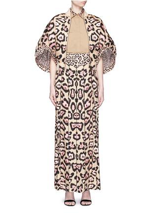 模特儿示范图 - 点击放大 - GIVENCHY - 豹纹拼接纯棉府绸衬衫