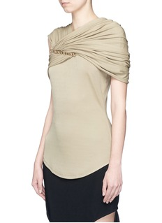 GIVENCHYRuched chain yoke crepe jersey top