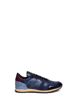 首图 - 点击放大 - VALENTINO - 麂皮蝴蝶迷彩拼贴运动鞋