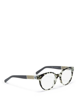 Figure View - Click To Enlarge - Tory Burch - Snakeskin effect temple optical glasses
