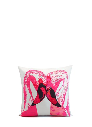 Main View - Click To Enlarge - CHLOE CROFT - Magenta Flamingos Silk Cushion