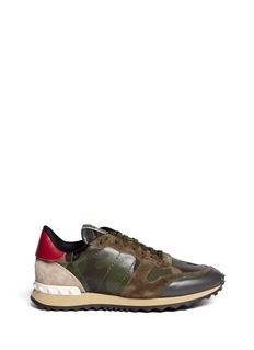 VALENTINOCamouflage suede trim sneakers