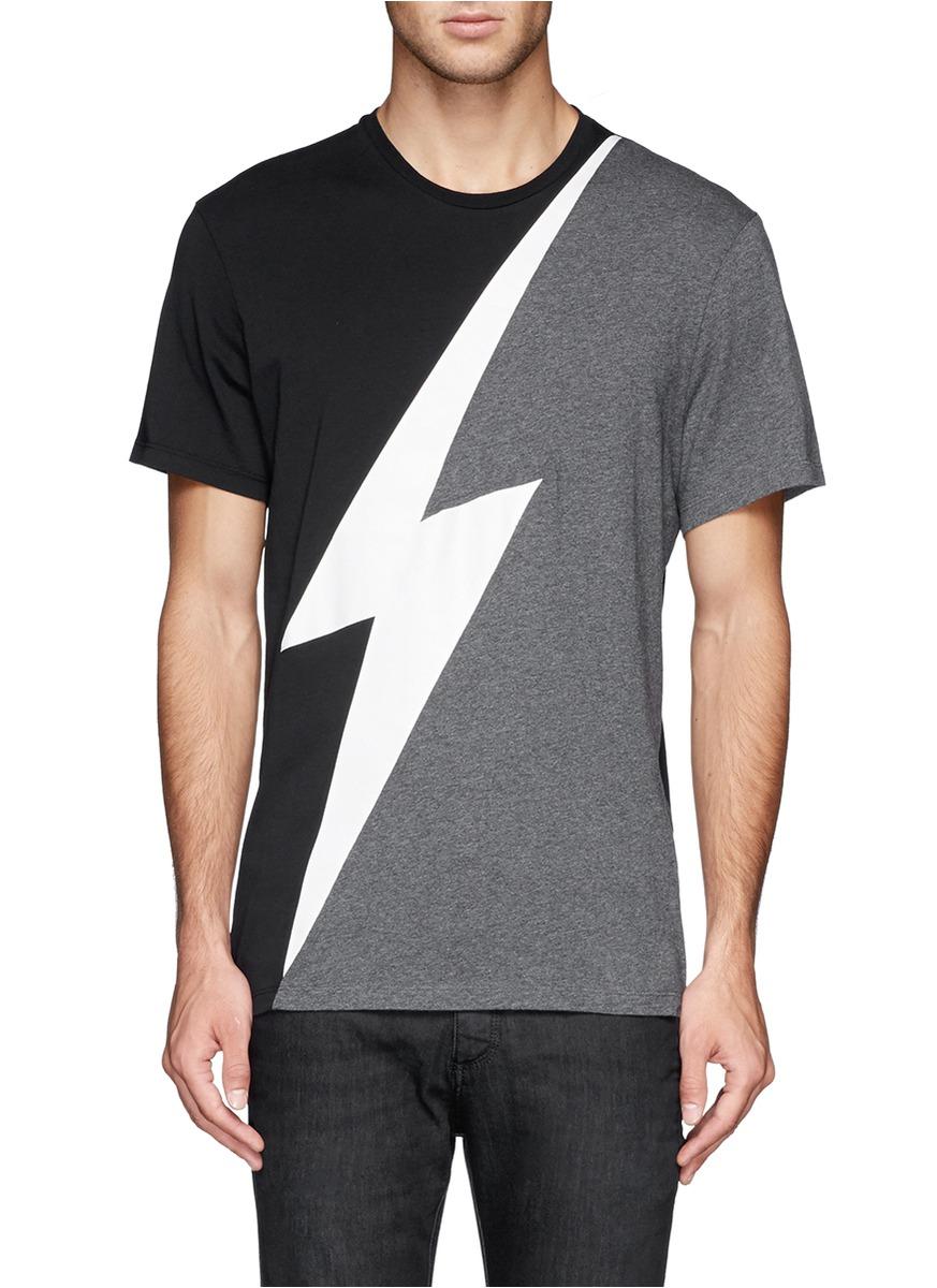 Neil Barrett Lightning Bolt Print T Shirt On Sale