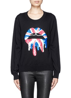 MARKUS LUPFER 'Union Jack Drip' Lara Lip sequin Joey sweater