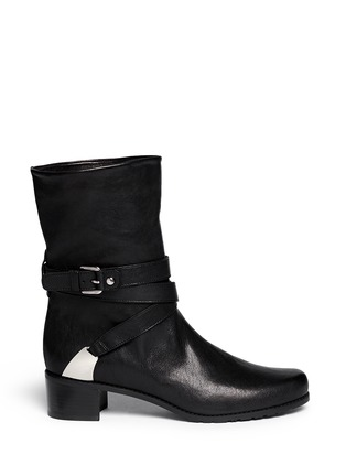 Main View - Click To Enlarge - Stuart Weitzman - 'Ranchdressing' buckle nappa leather boots